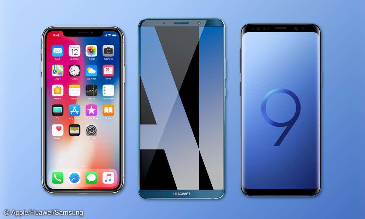 Apple iPhone X Huawei Mate 10 Pro Samsung Galaxy S9