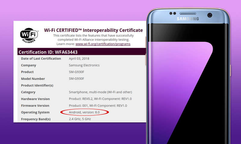 Samsung Galaxy S7 Android 8 Update