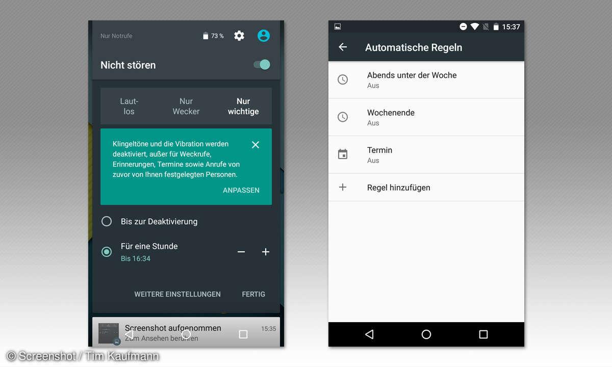 Benachrichtigungen unter Android 6