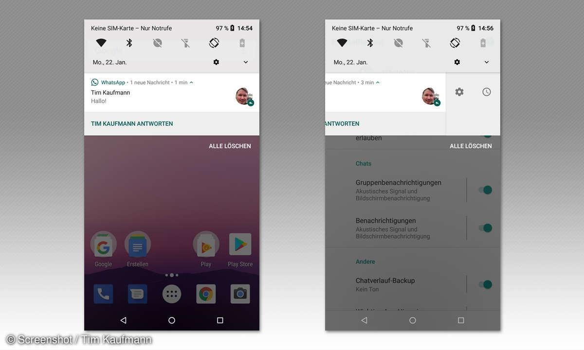 Benachrichtigungen unter Android 8