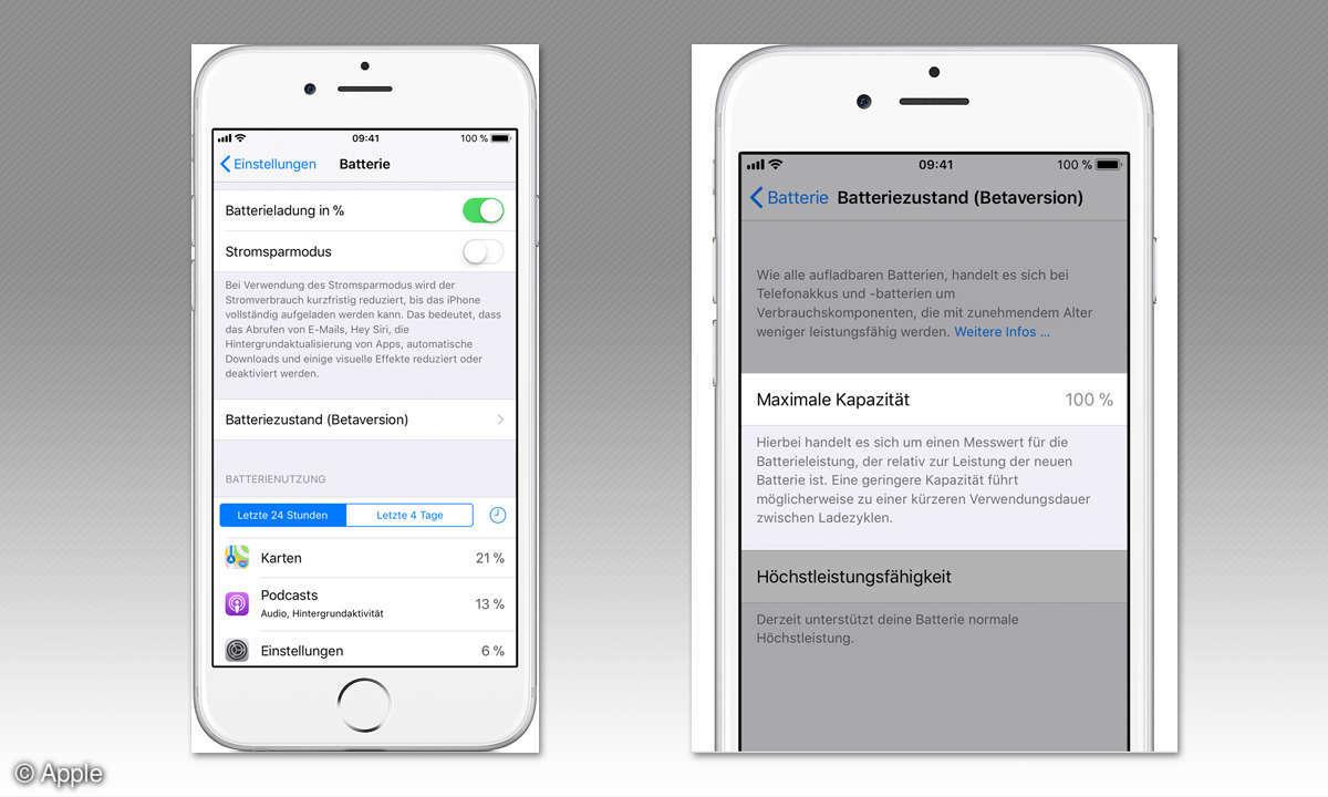 iOS 11.3 Batteriezustand