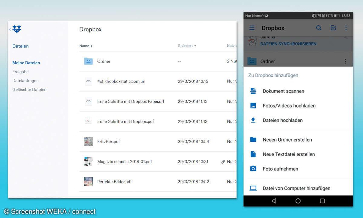 Cloud-Dienste im Leistungscheck - Dropbox