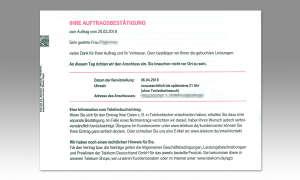 IP-Telefonie: Telekom Auftragsbestätigung - Beispiel