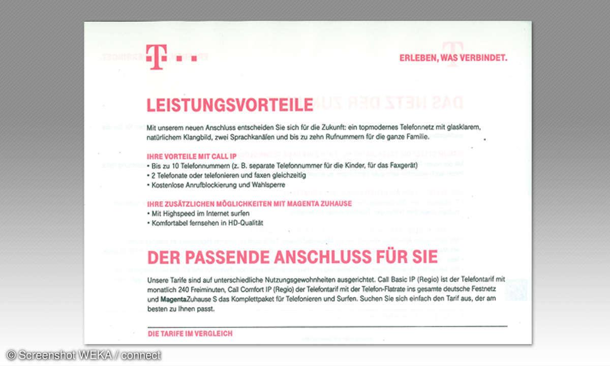 IP-Telefonie: Telekom Angebot - Beispiel