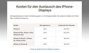 Apple Preise Display-Austausch