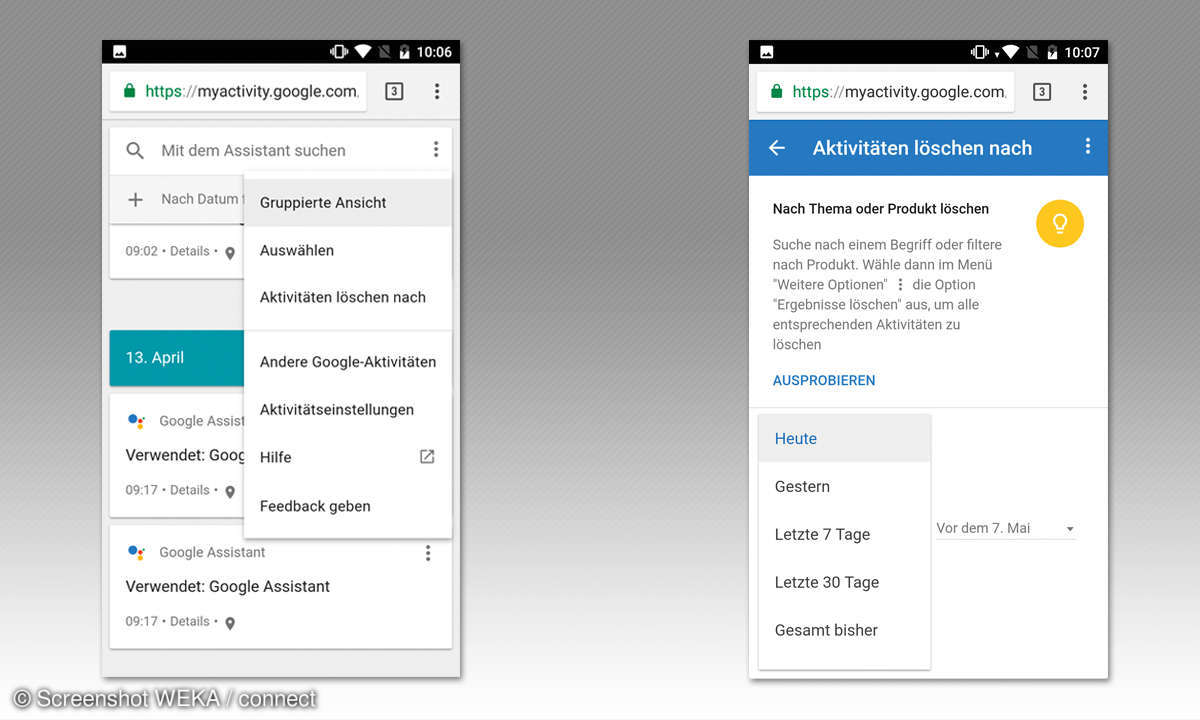 Google Assistant Tipps - Aktivitäten löschen