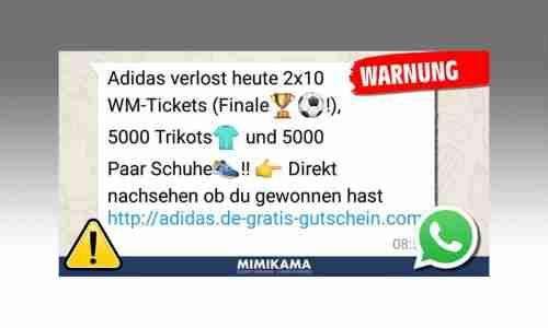 Whatsapp Kettenbrief: Adidas Gewinnspiel lockt Sie in die