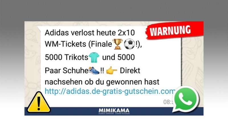 brand new ac58c aecd3 Whatsapp Adidas Gewinnspiel Fake