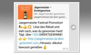Whatsapp: Dieses Jägermeister-Gewinnspiel ist ein Fake