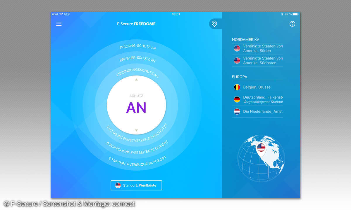 Sicher im Hotspot - Freedom iPad Screen