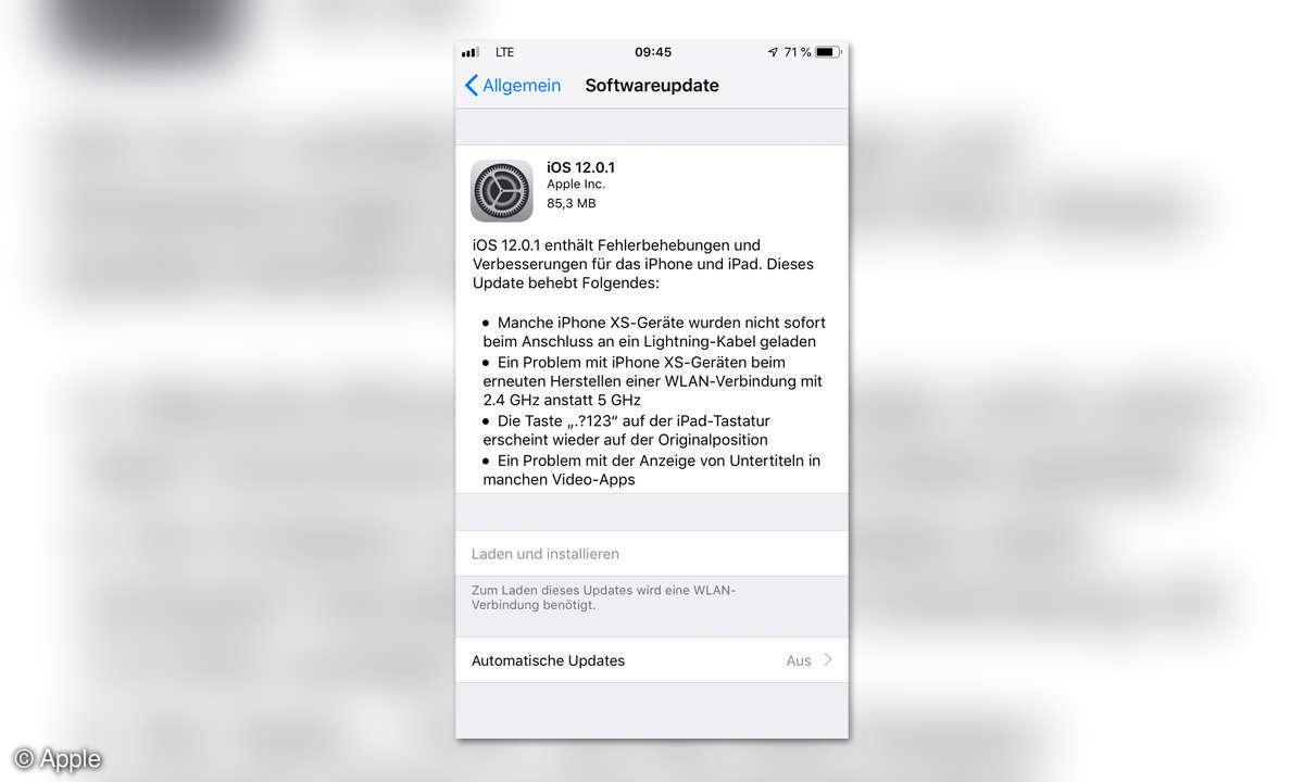 Software-Update Apple Screenshot