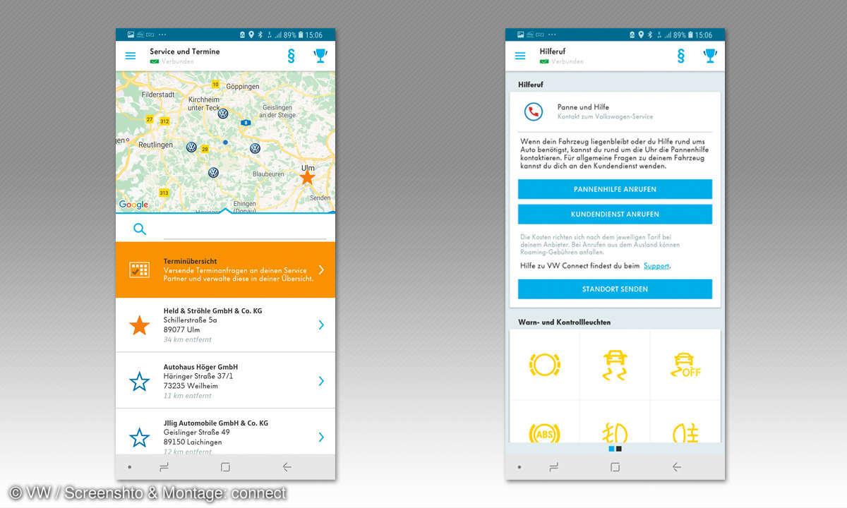 Volkswagen-Connect-App: Services