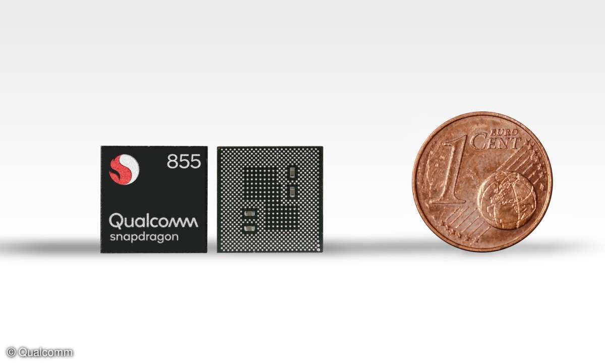Größenvergleich: Snapdragon 855 und eine 1-Cent-Münze