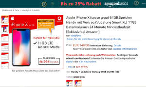 iPhone X Vodafone-Vertrag Amazon