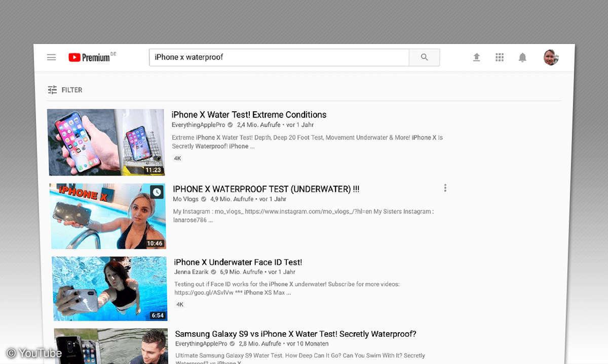 YouTube-Suche iPhone wasserdicht