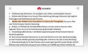Huawei Garantiebedingungen