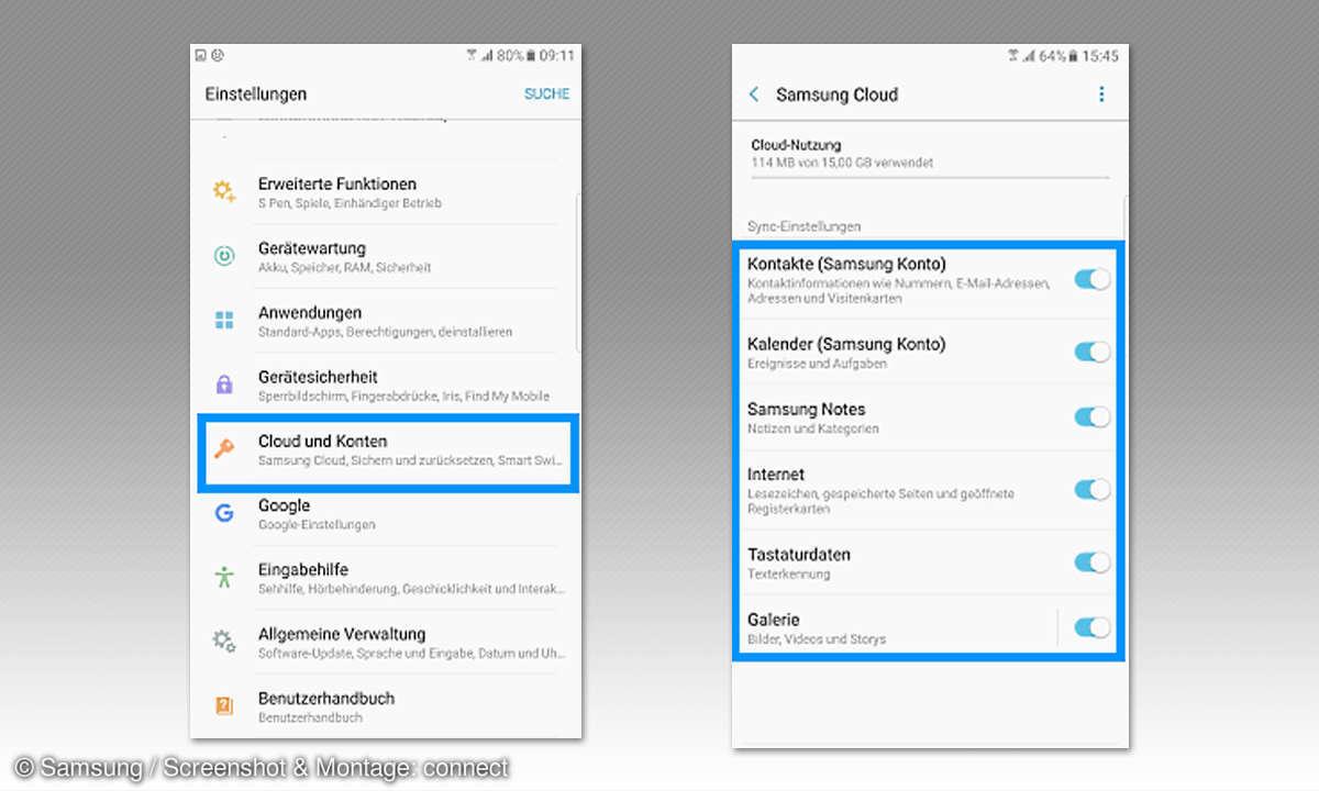 Google Drive vs. Huawei Cloud und Samsung Cloud