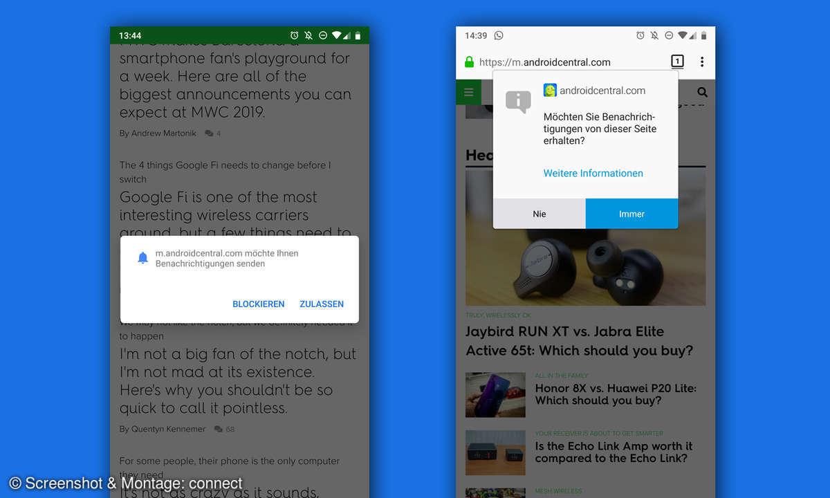 android webseiten benachrichtigungen chrome firefox