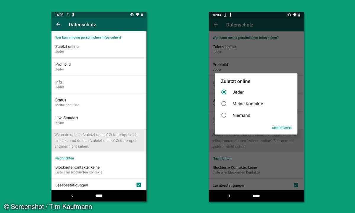 WhatsApp: Online-Status verbergen