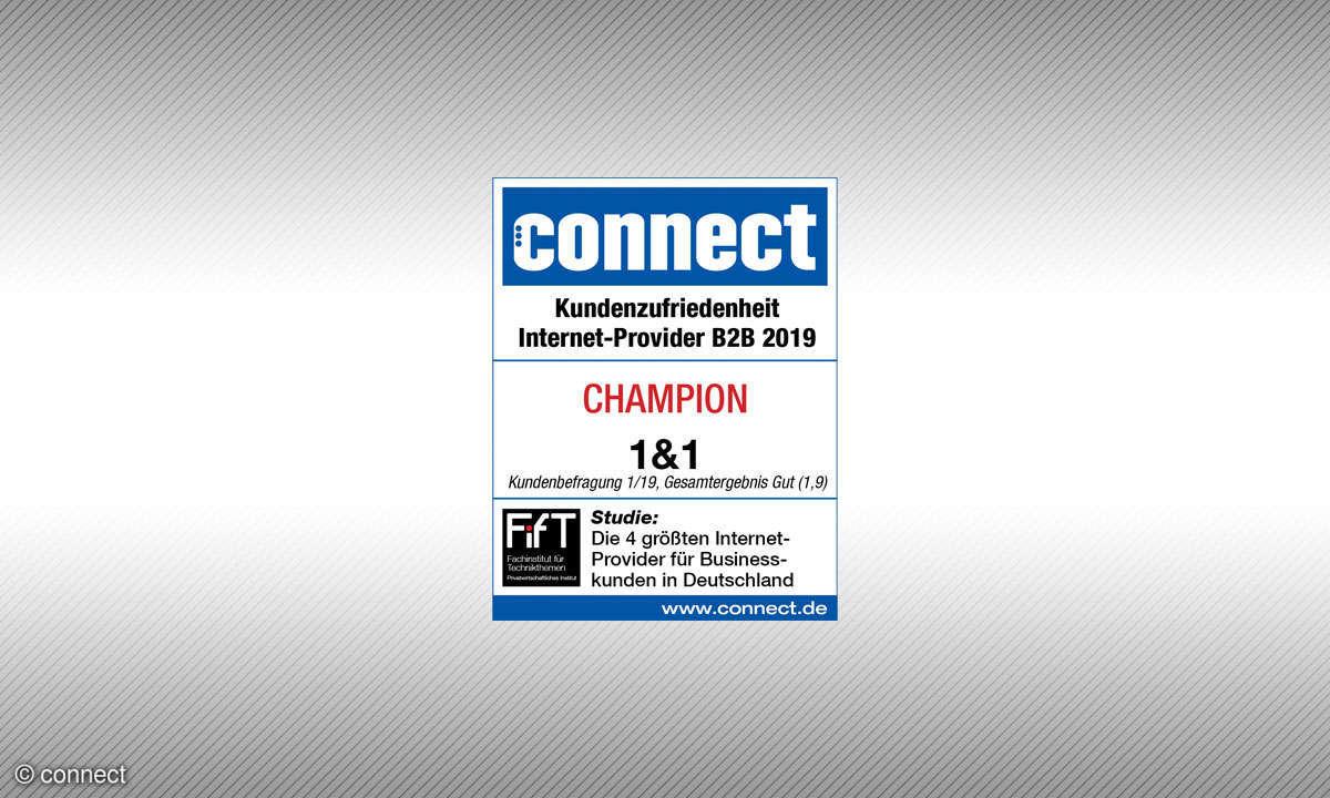 Connect-Siegel Kundenzufriedenheit Internetprovider B2B 2019: Sieger 1&1