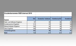 Gesamtergebnis beim Kundenbarometer B2B Internetprovider 2019