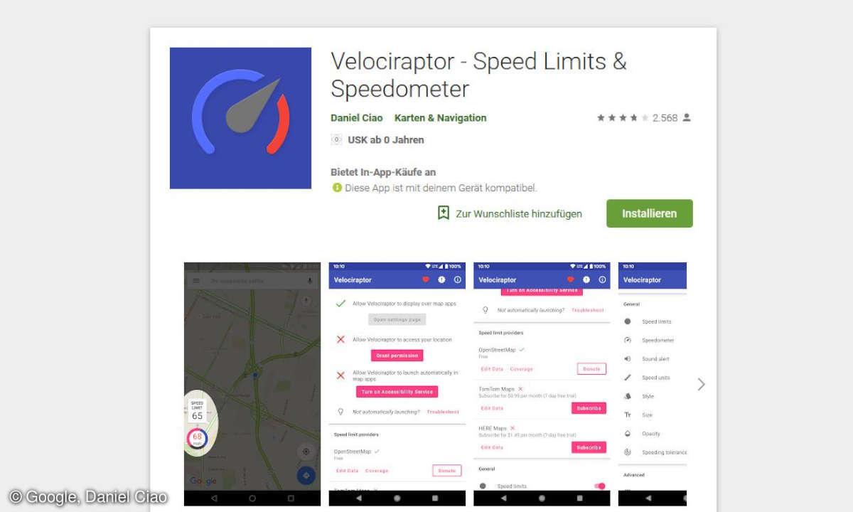 Velociraptor Tempolimit App im Google Play Store