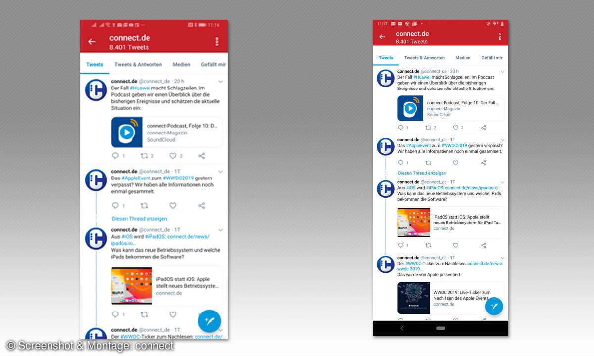 Sony Xperia 1 im Test: Bildschirmausschnitt - Vergleich