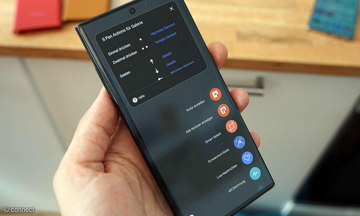 Samsung Galaxy Note 10 mit S Pen Menü