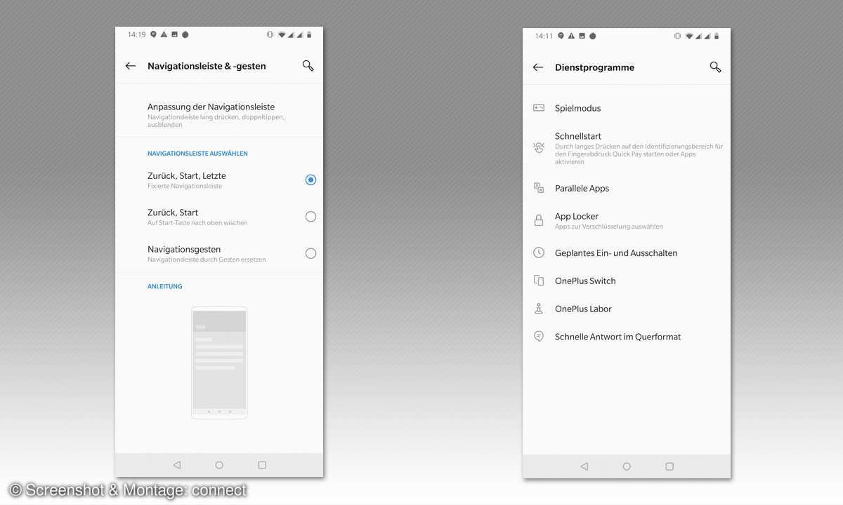 Oneplus 7 - Screenshots: Navigation anpassen, Dienstprogramme