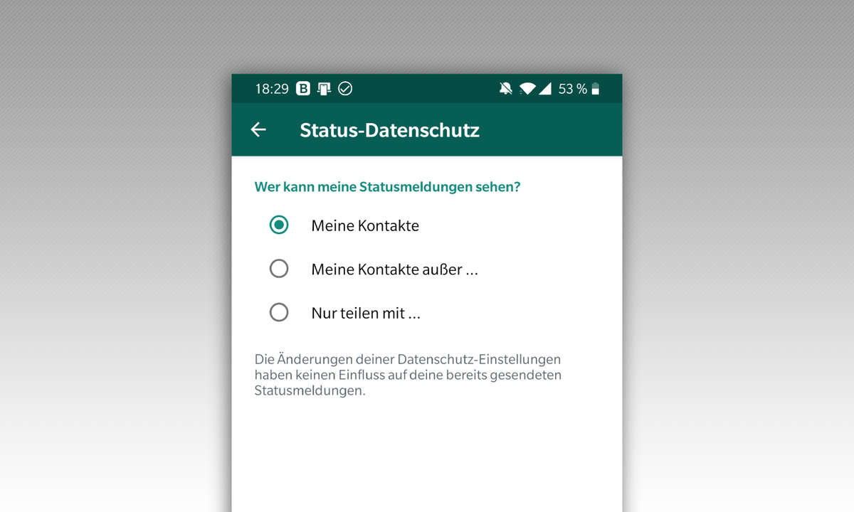 WhatsApp Status Einstellungen
