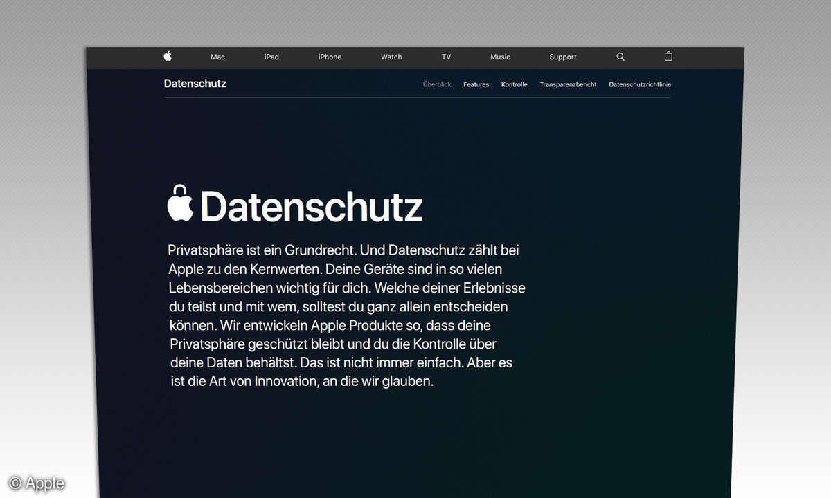 Apple Datenschutz Webseite