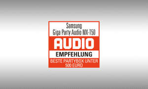 """Testsiegel audio """"Empfehlung"""" Samsung Giga Party Audio MX-T50"""