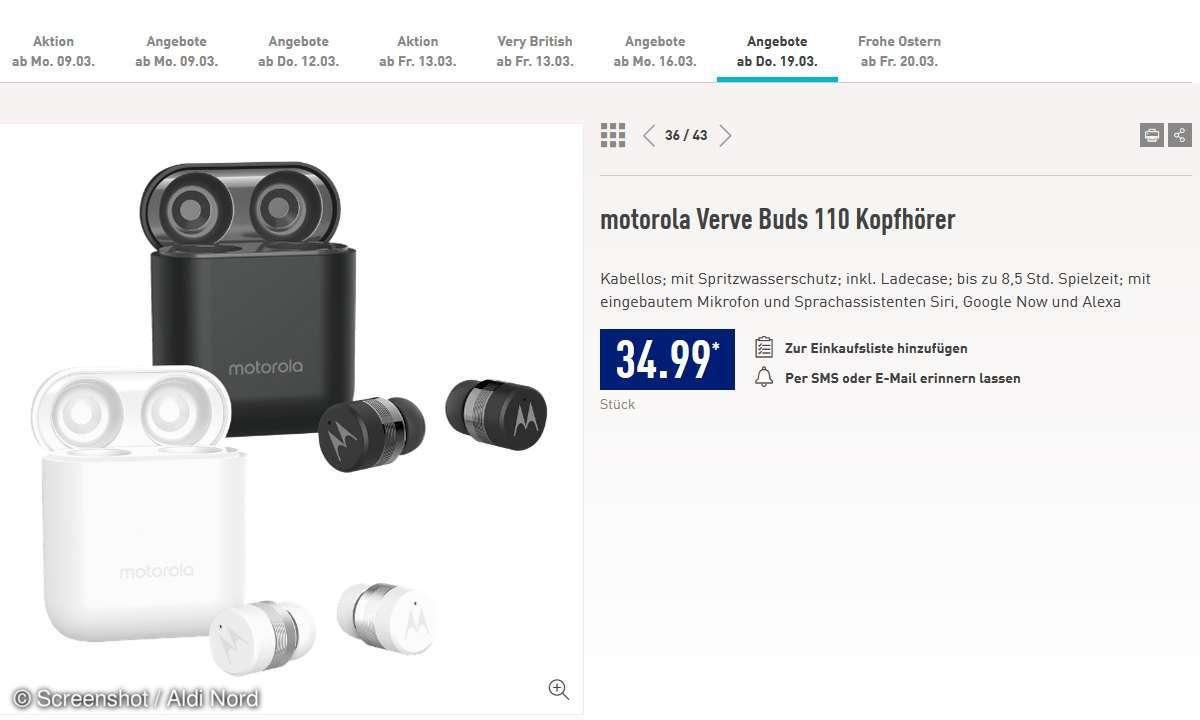 Motorola Verve Buds 110 bei Aldi