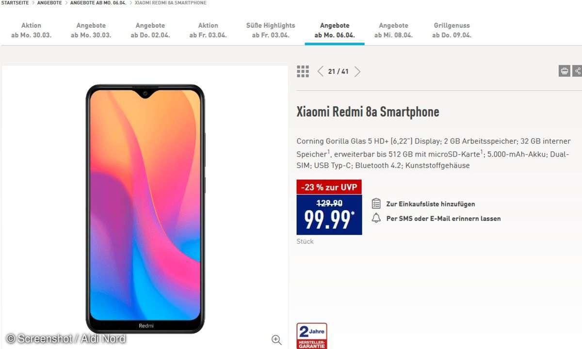 Xiaomi Redmi 8a bei Aldi Nord im Angebot