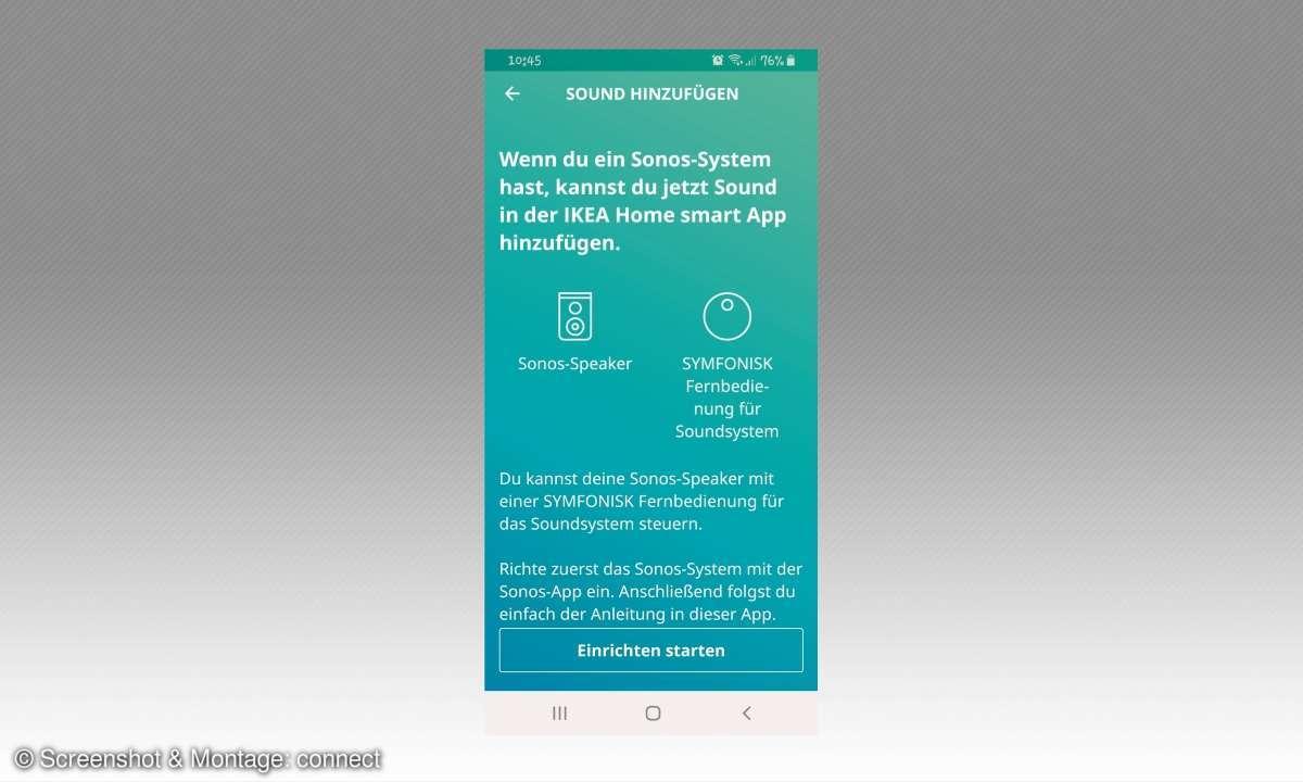 Heimvernetzung mit IKEA: Symfonisk WiFi-Speaker - App Screenshot
