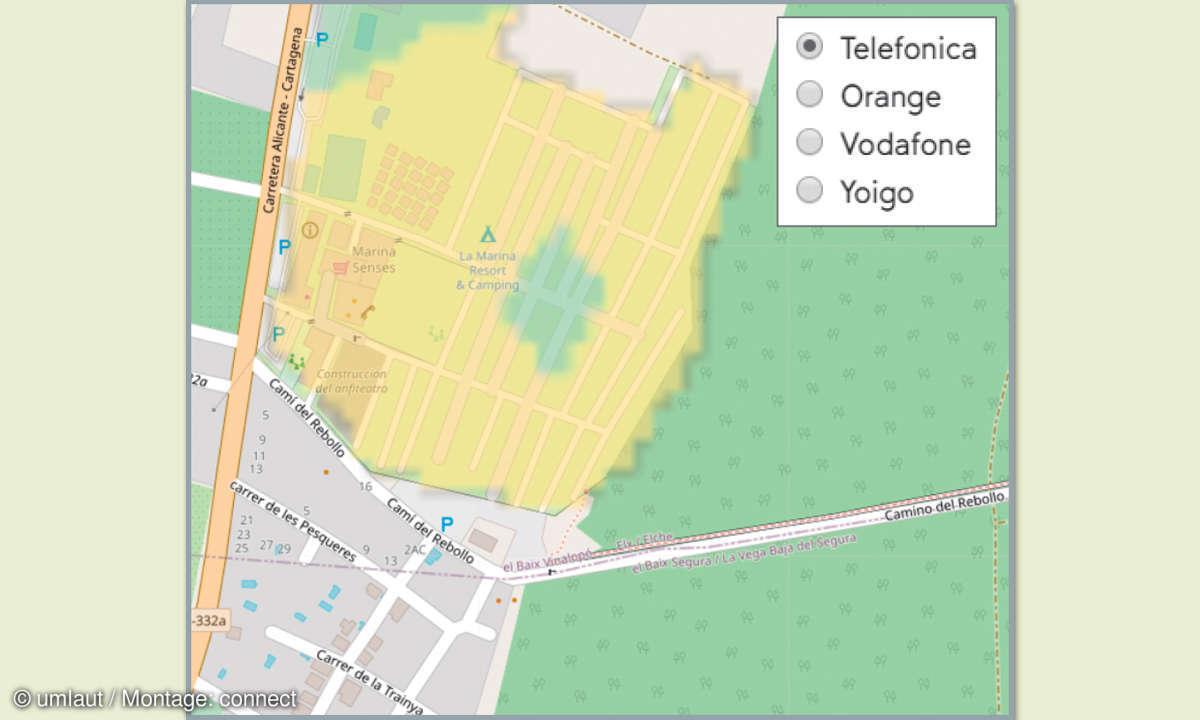 Mobilfunknetztest-Campingplätze: Spanien - La Marina Camping & Resort