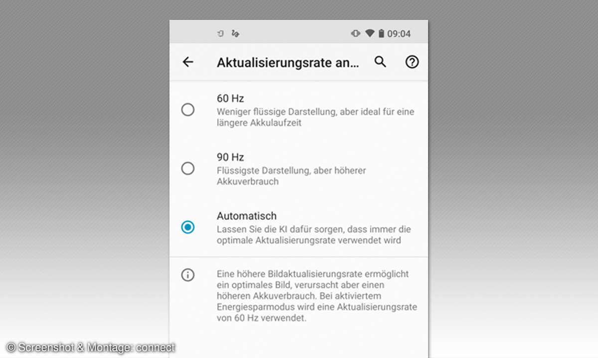 Motorola Edge im Test - Screenshot Wiederholrate