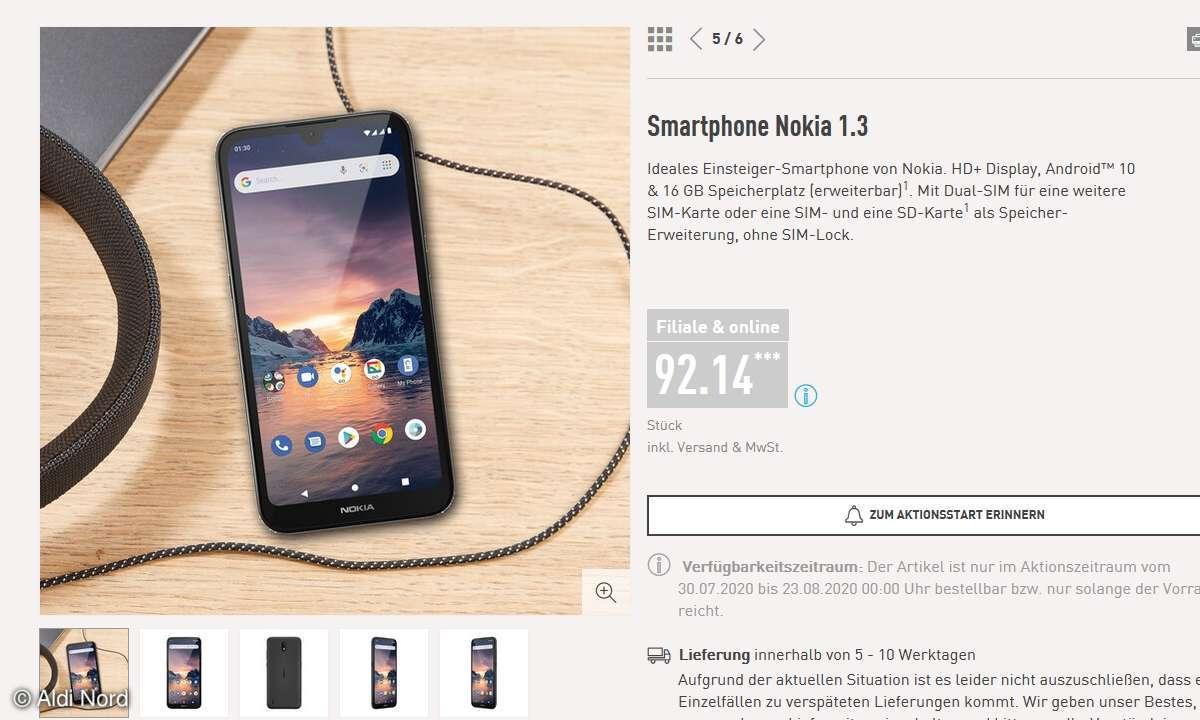 Nokia 1.3 bei Aldi Nord