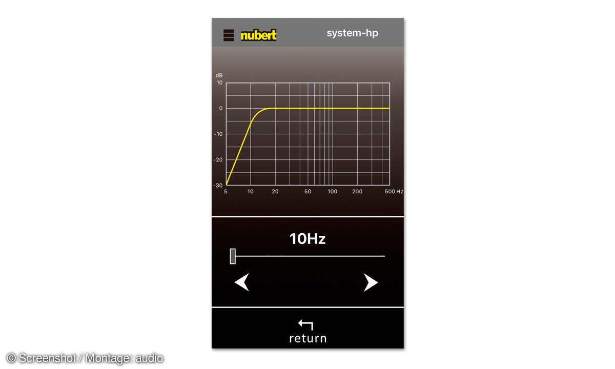 Nubert NuPro XS-7500 im Test: App Screenshot