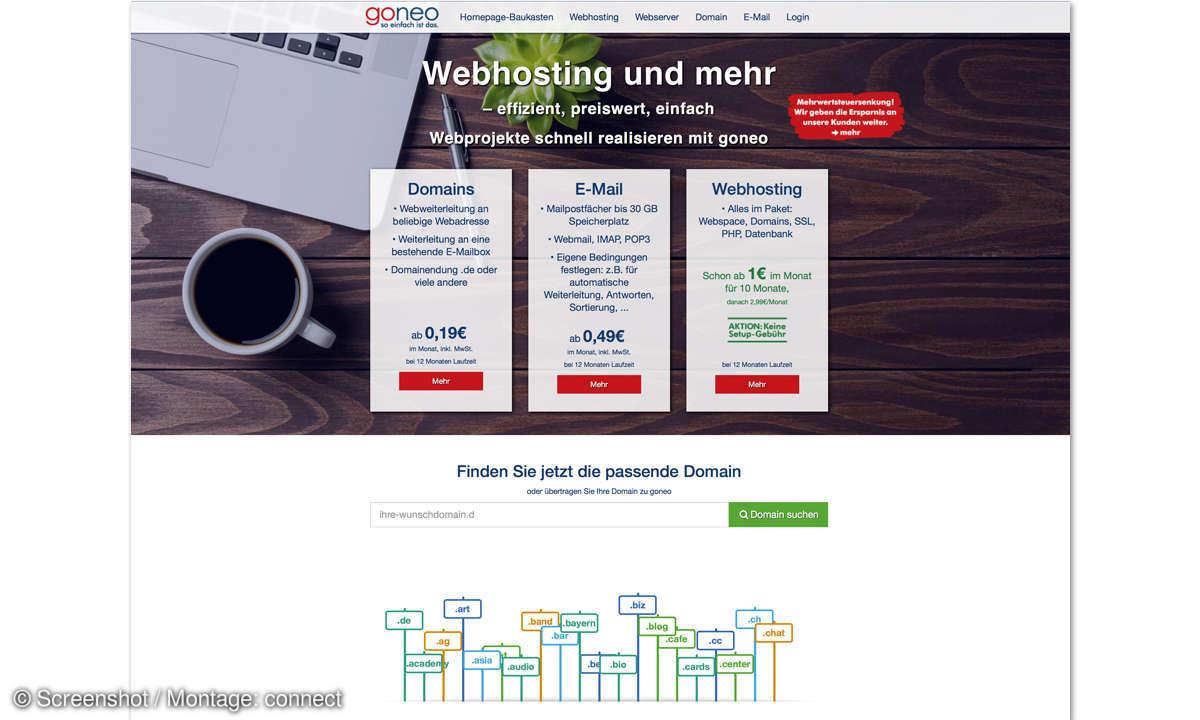 Webhosting-Anbieter Goneo Screenshot