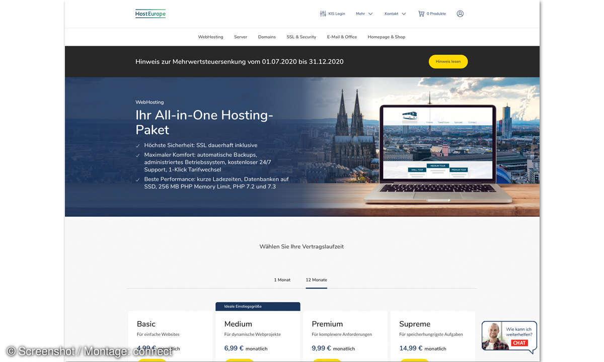 Webhosting-Anbieter Host Europe Screenshot
