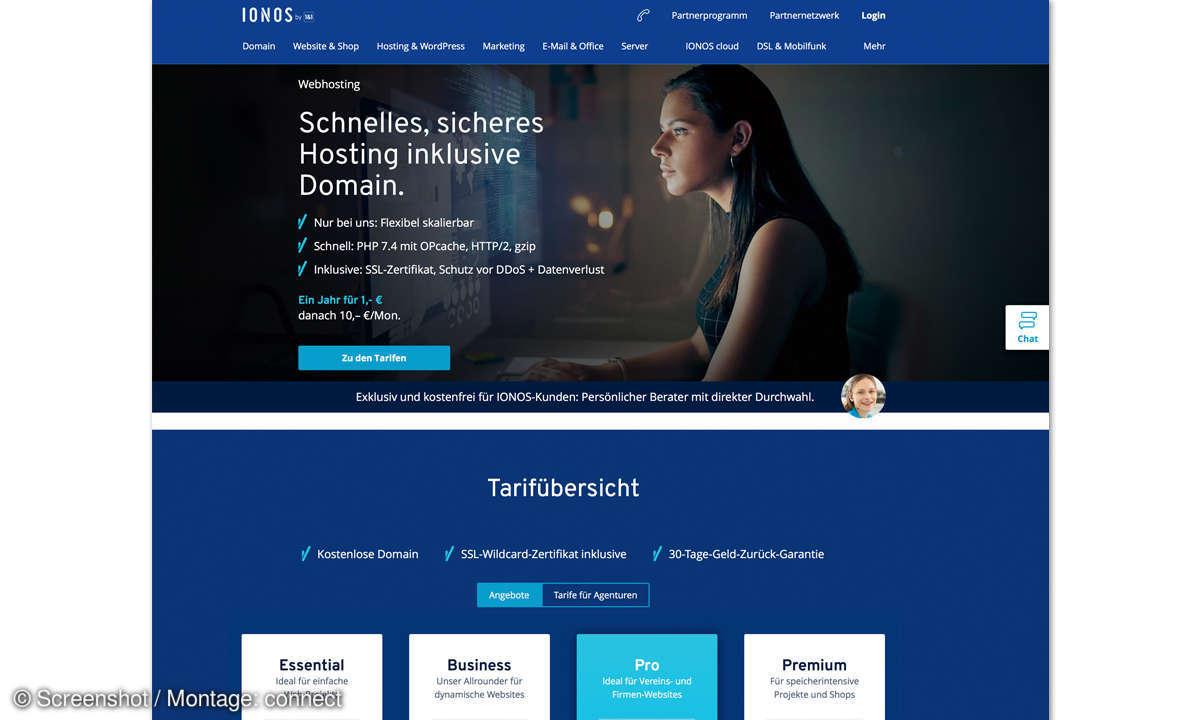 Webhosting-Anbieter Ionos Screenshot