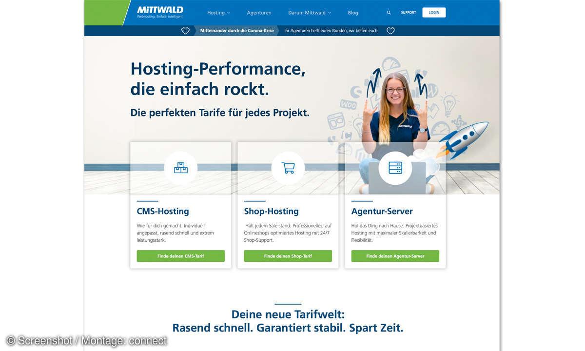 Webhosting-Anbieter Mittwald Screenshot