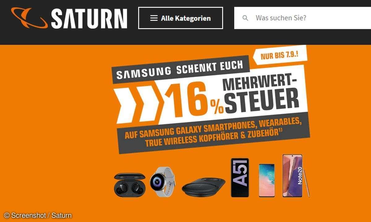 Saturn gibt 16 bzw. fast 14 Prozent Rabatt auf Samsung-Geräte.