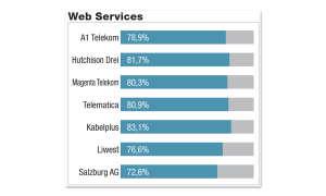 Breitbandfestnetz-Anbieter in Österreich im Vergleichstest: Ergebnisse Testdisziplin Web Services