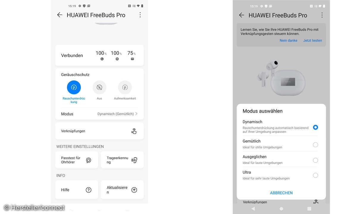 Die App zu den Huawei FreeBuds Pro