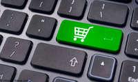 Online-Shopping Einkaufswagen auf Tastatur