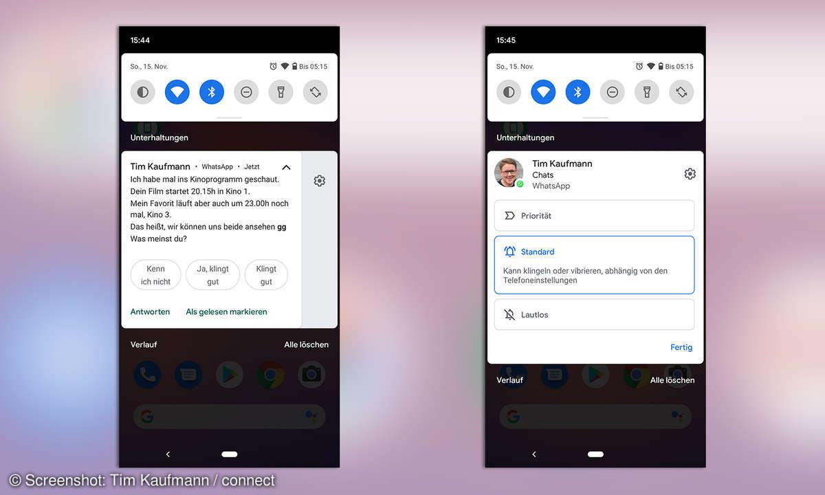 Benachrichtigungen in Android 11