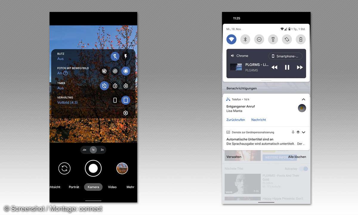 Google Pixel 5 im Test - Screenshots Medien u. Kamera