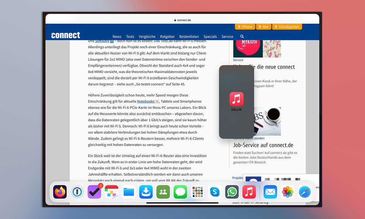 Multitasking iPadOS 14: Slide Over in einer App starten